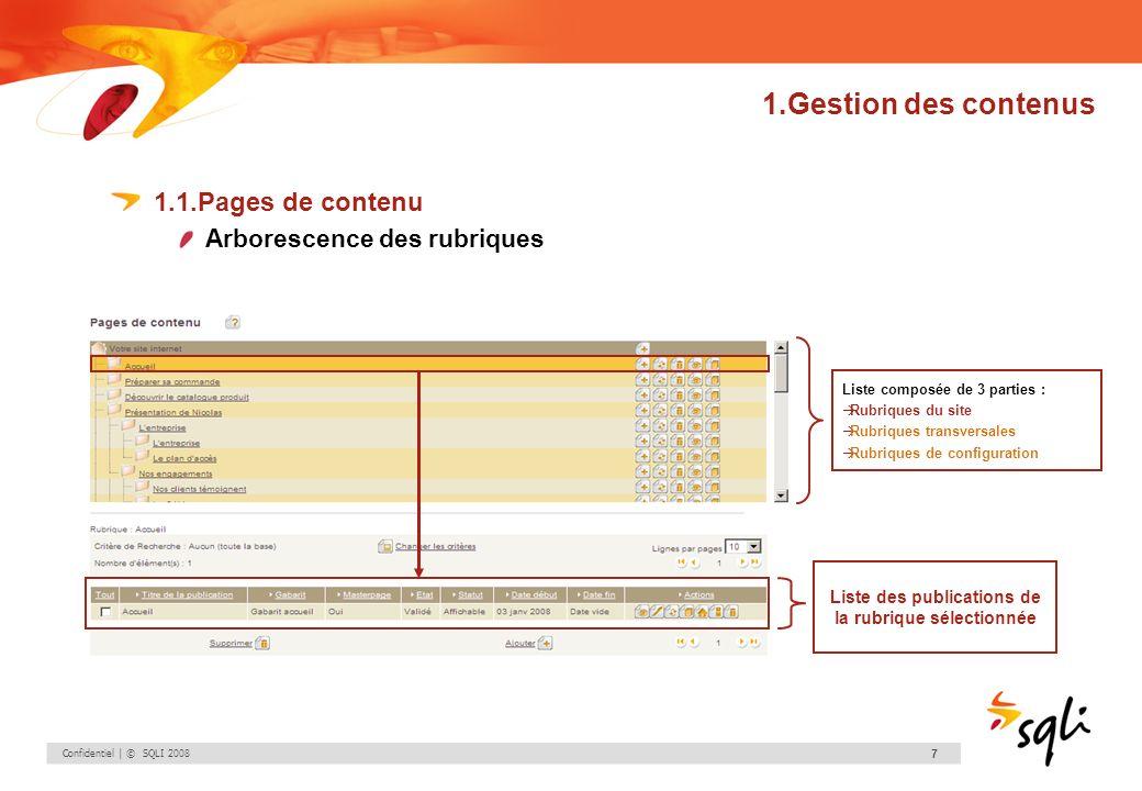 Confidentiel | © SQLI 2008 7 1.Gestion des contenus 1.1.Pages de contenu Arborescence des rubriques Liste composée de 3 parties : Rubriques du site Ru