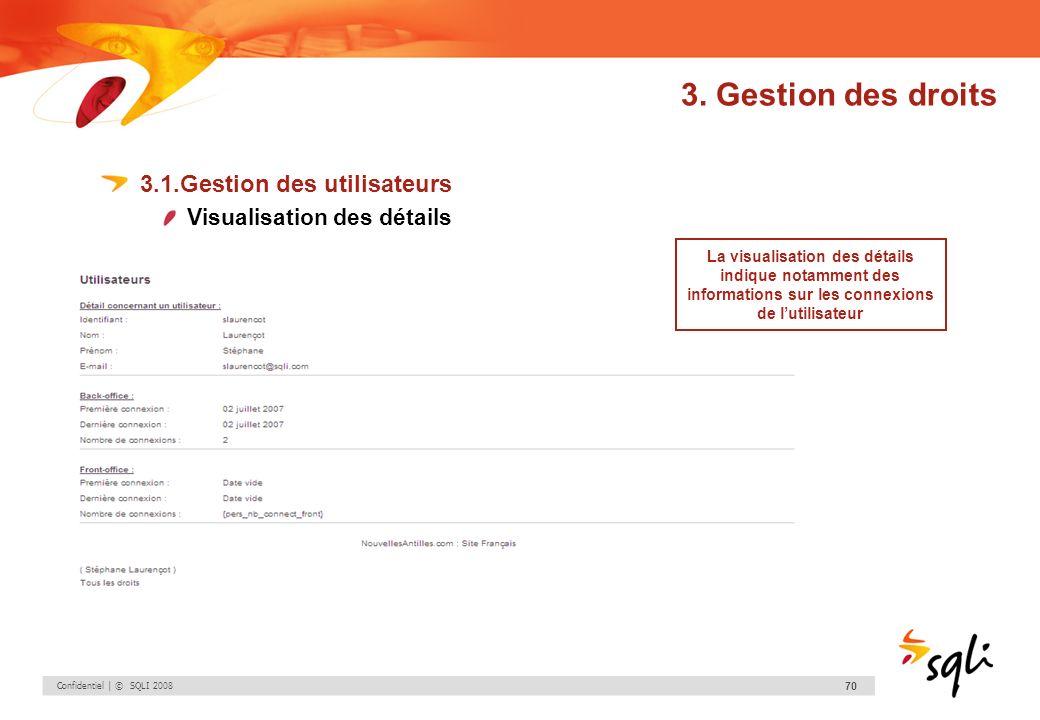 Confidentiel | © SQLI 2008 70 3. Gestion des droits 3.1.Gestion des utilisateurs Visualisation des détails La visualisation des détails indique notamm