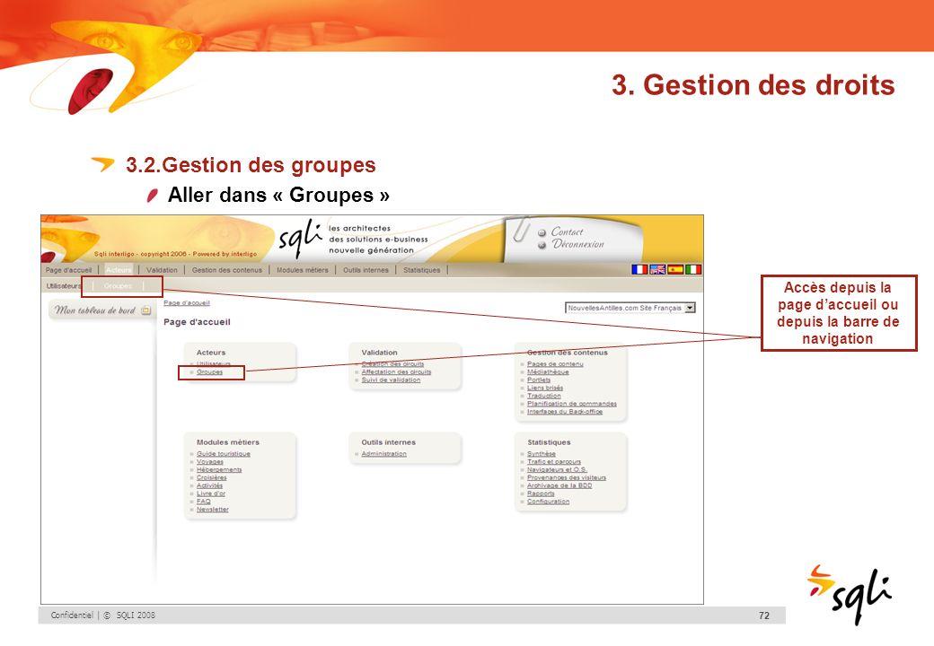 Confidentiel | © SQLI 2008 72 3. Gestion des droits 3.2.Gestion des groupes Aller dans « Groupes » Accès depuis la page daccueil ou depuis la barre de