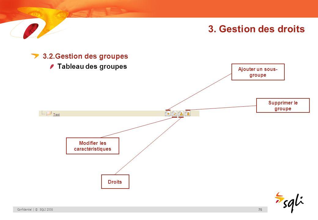Confidentiel | © SQLI 2008 75 3. Gestion des droits 3.2.Gestion des groupes Tableau des groupes Ajouter un sous- groupe Modifier les caractéristiques