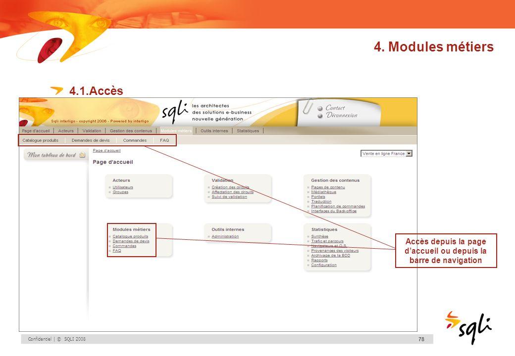 Confidentiel | © SQLI 2008 78 4. Modules métiers 4.1.Accès Accès depuis la page daccueil ou depuis la barre de navigation
