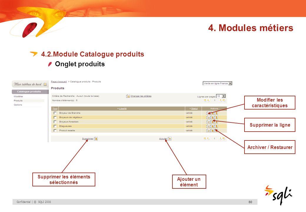 Confidentiel | © SQLI 2008 80 4.2.Module Catalogue produits Onglet produits Modifier les caractéristiques Supprimer la ligne Archiver / Restaurer Supp