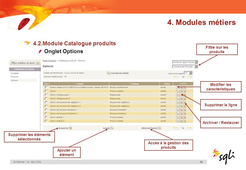 Confidentiel | © SQLI 2008 82 4.2.Module Catalogue produits Onglet Options Modifier les caractéristiques Supprimer la ligne Archiver / Restaurer Suppr