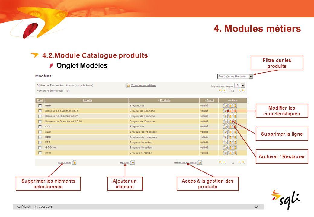 Confidentiel | © SQLI 2008 84 4.2.Module Catalogue produits Onglet Modèles Modifier les caractéristiques Supprimer la ligne Archiver / Restaurer Suppr