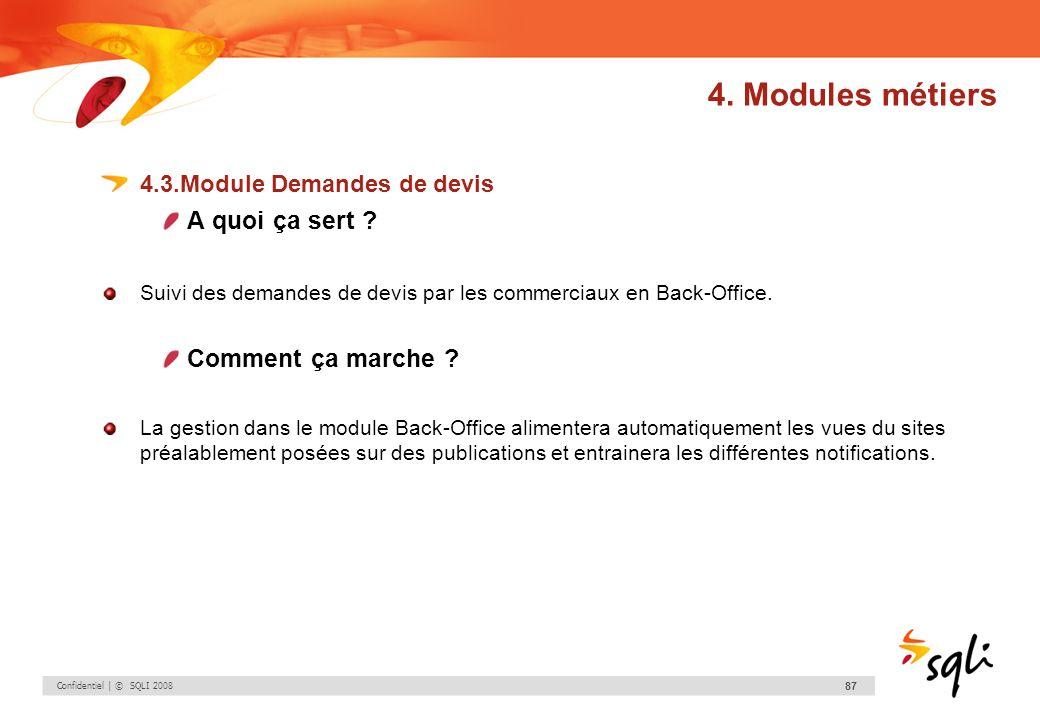 Confidentiel | © SQLI 2008 87 4.3.Module Demandes de devis A quoi ça sert ? Suivi des demandes de devis par les commerciaux en Back-Office. Comment ça