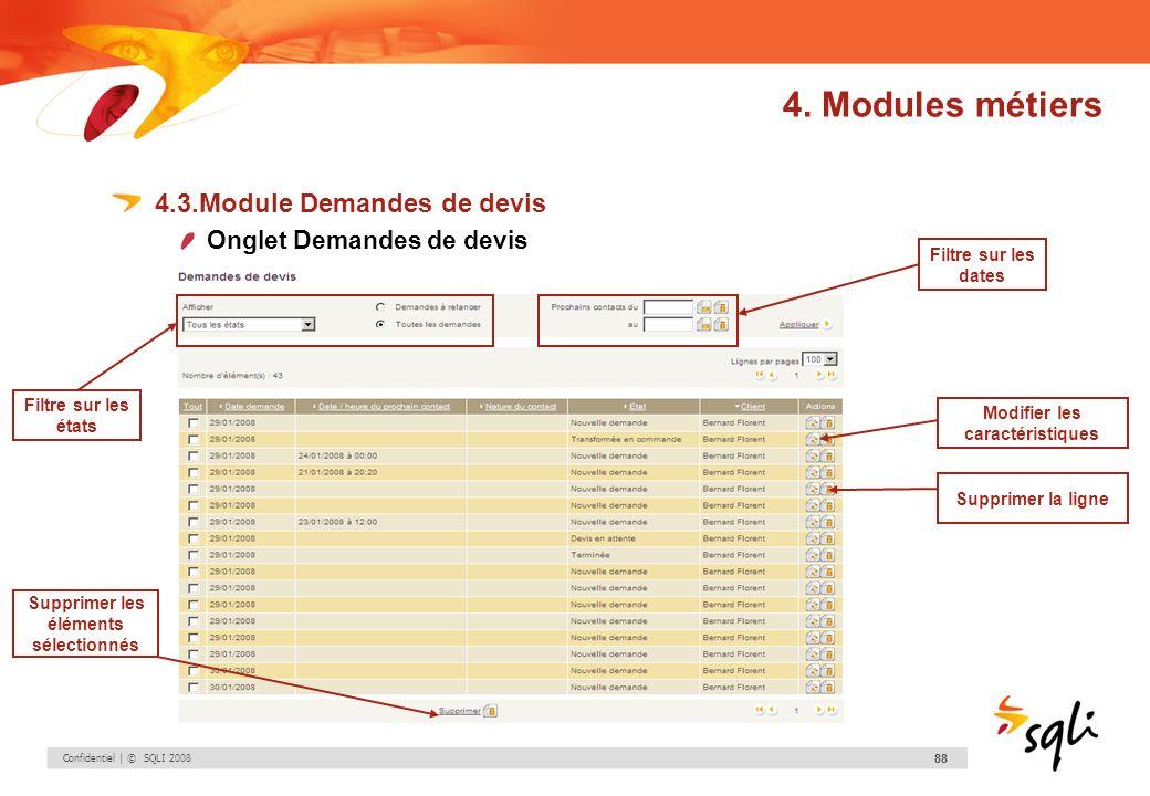 Confidentiel | © SQLI 2008 88 4.3.Module Demandes de devis Onglet Demandes de devis Modifier les caractéristiques Supprimer la ligne Supprimer les élé