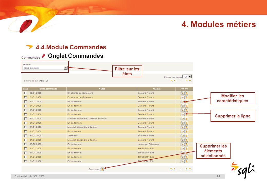 Confidentiel | © SQLI 2008 91 4.4.Module Commandes Onglet Commandes Modifier les caractéristiques Supprimer la ligne Supprimer les éléments sélectionn