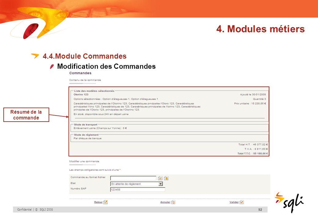 Confidentiel | © SQLI 2008 92 4.4.Module Commandes Modification des Commandes 4. Modules métiers Résumé de la commande