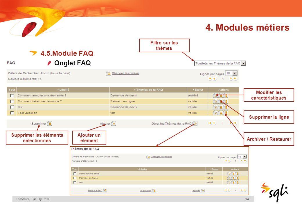Confidentiel | © SQLI 2008 94 4.5.Module FAQ Onglet FAQ Modifier les caractéristiques Supprimer la ligne Archiver / Restaurer Supprimer les éléments s