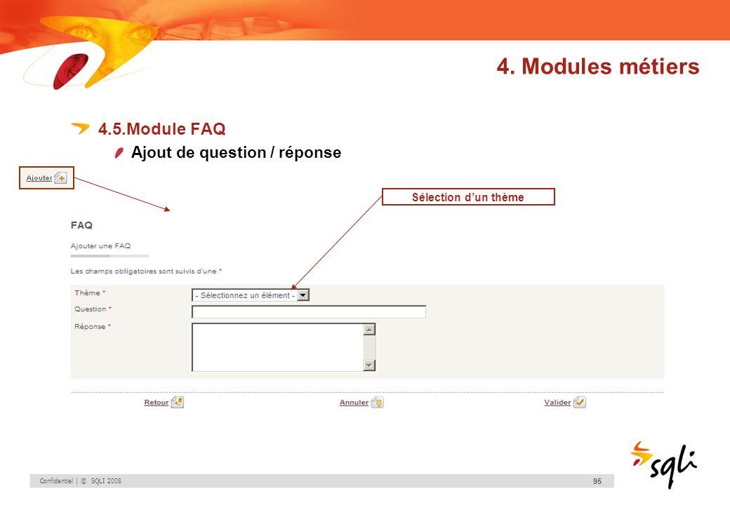 Confidentiel | © SQLI 2008 95 4.5.Module FAQ Ajout de question / réponse Sélection dun thème 4. Modules métiers