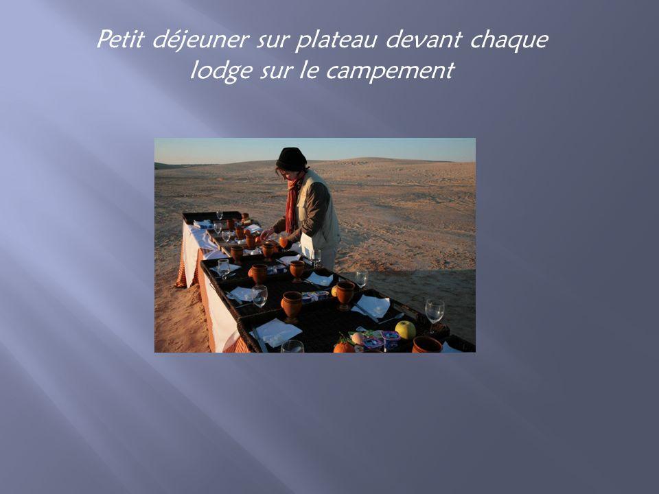 Petit déjeuner sur plateau devant chaque lodge sur le campement