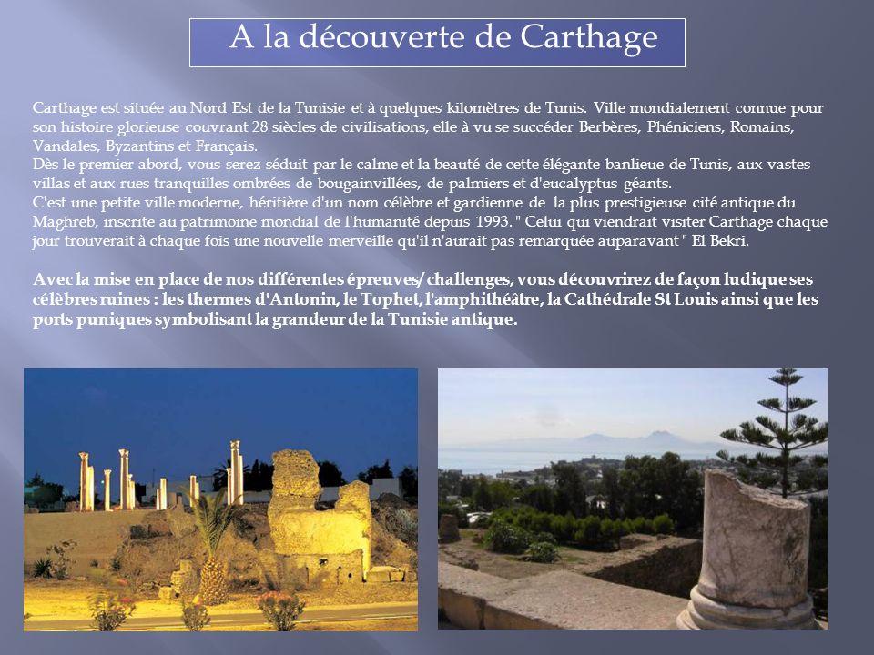 Carthage est située au Nord Est de la Tunisie et à quelques kilomètres de Tunis.