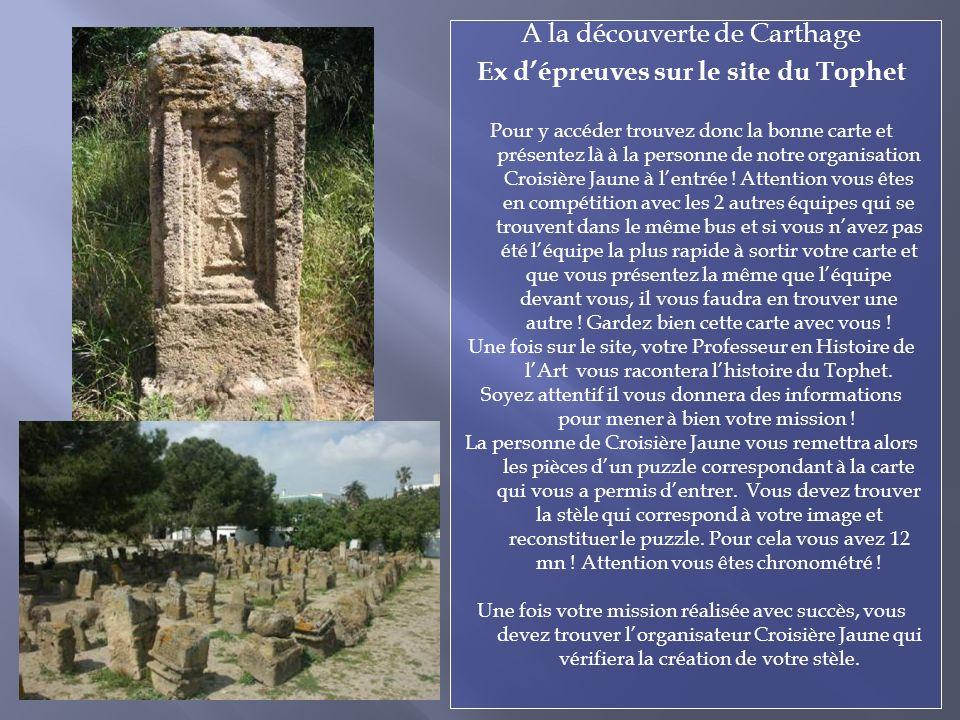 A la découverte de Carthage Ex dépreuves sur le site du Tophet Pour y accéder trouvez donc la bonne carte et présentez là à la personne de notre organisation Croisière Jaune à lentrée .
