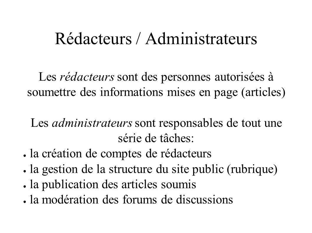 Rédacteurs / Administrateurs Les rédacteurs sont des personnes autorisées à soumettre des informations mises en page (articles) Les administrateurs sont responsables de tout une série de tâches: la création de comptes de rédacteurs la gestion de la structure du site public (rubrique) la publication des articles soumis la modération des forums de discussions