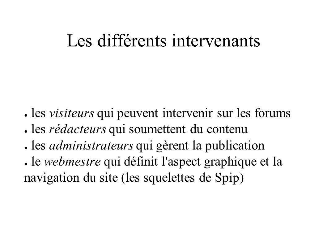 Les différents intervenants les visiteurs qui peuvent intervenir sur les forums les rédacteurs qui soumettent du contenu les administrateurs qui gèrent la publication le webmestre qui définit l aspect graphique et la navigation du site (les squelettes de Spip)