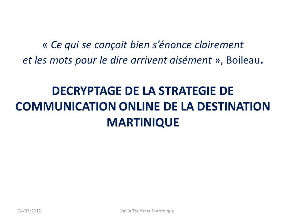 Ce bref état des lieux na pas pour but de mettre en doute le travail accompli par les équipes du Comité Martiniquais du Tourisme, mais plutôt de faire un constat de la stratégie menée jusquà présent.