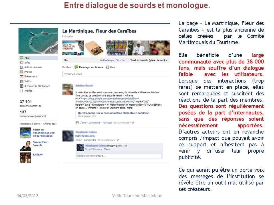 Entre dialogue de sourds et monologue. La page « La Martinique, Fleur des Caraïbes » est la plus ancienne de celles créées par le Comité Martiniquais
