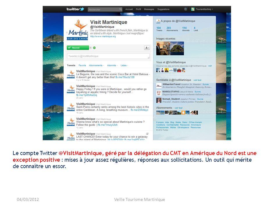 Le compte Twitter @VisitMartinique, géré par la délégation du CMT en Amérique du Nord est une exception positive : mises à jour assez régulières, réponses aux sollicitations.