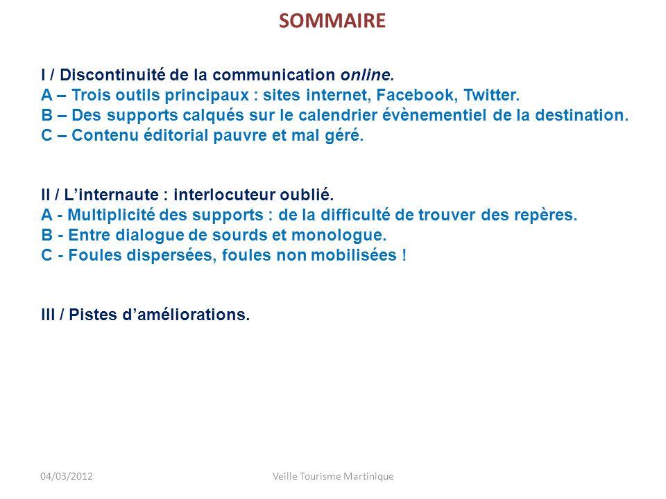 SOMMAIRE I / Discontinuité de la communication online.