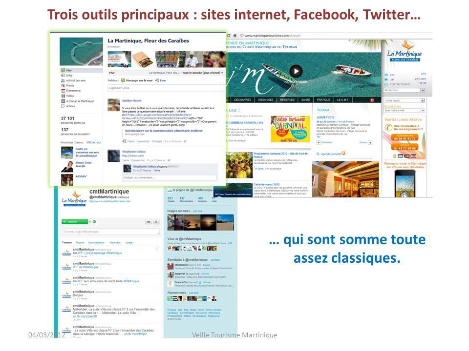 Trois outils principaux : sites internet, Facebook, Twitter… … qui sont somme toute assez classiques.