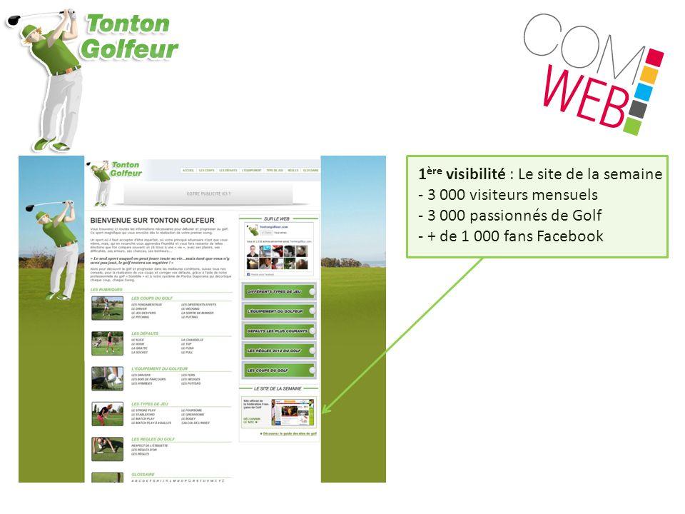 1 ère visibilité : Le site de la semaine - 3 000 visiteurs mensuels - 3 000 passionnés de Golf - + de 1 000 fans Facebook