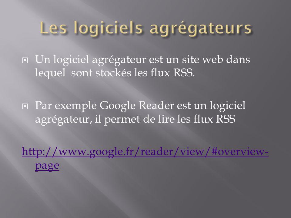 Un logiciel agrégateur est un site web dans lequel sont stockés les flux RSS.