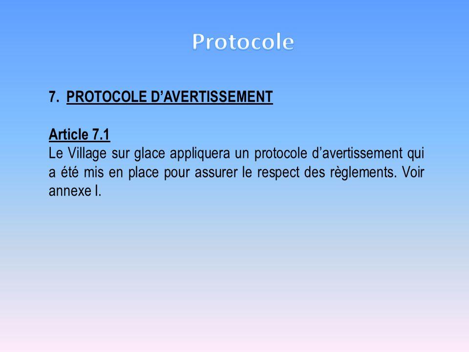 7.PROTOCOLE DAVERTISSEMENT Article 7.1 Le Village sur glace appliquera un protocole davertissement qui a été mis en place pour assurer le respect des