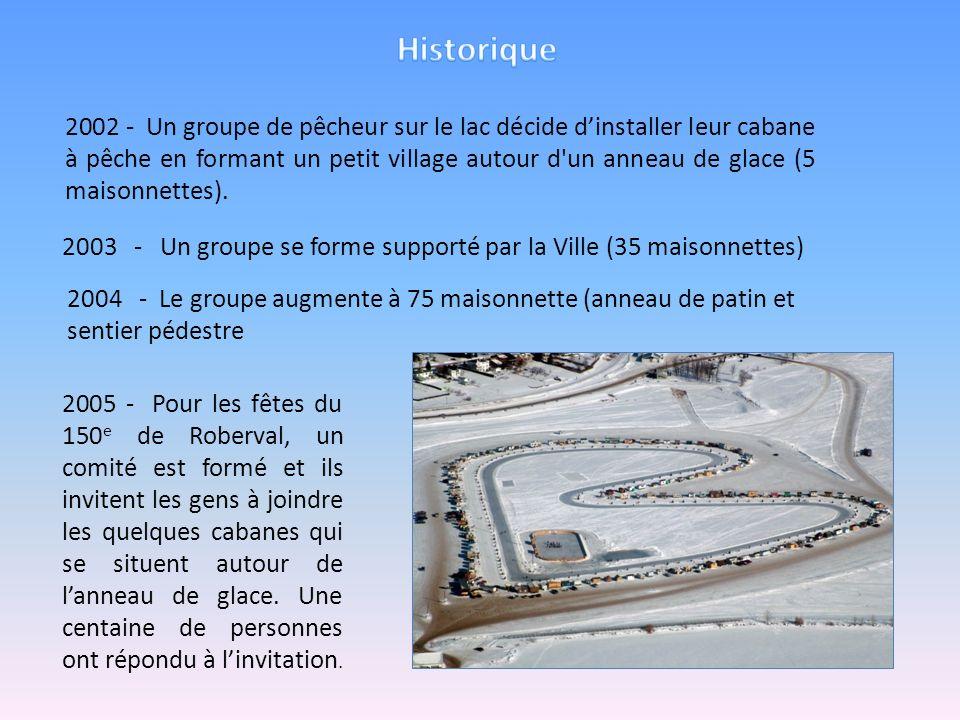 2002 - Un groupe de pêcheur sur le lac décide dinstaller leur cabane à pêche en formant un petit village autour d'un anneau de glace (5 maisonnettes).