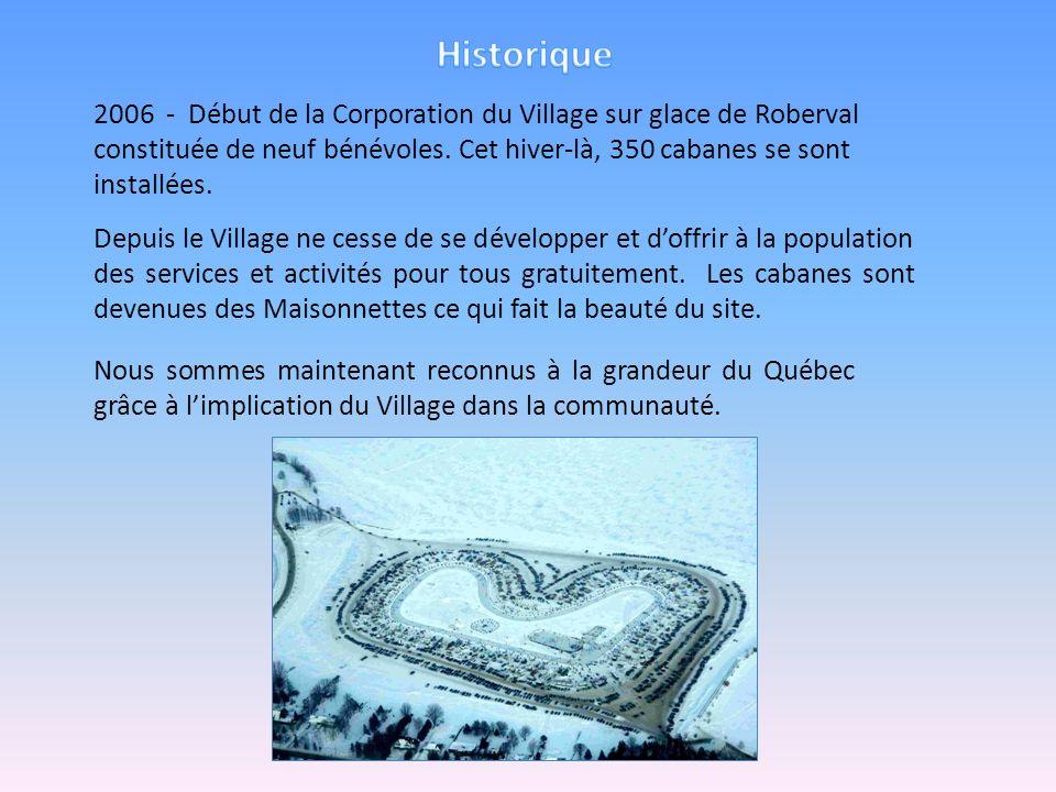 2006 - Début de la Corporation du Village sur glace de Roberval constituée de neuf bénévoles. Cet hiver-là, 350 cabanes se sont installées. Depuis le
