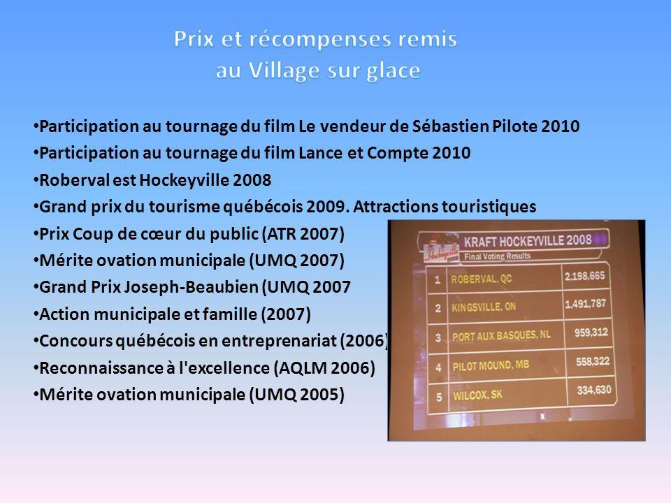 Participation au tournage du film Le vendeur de Sébastien Pilote 2010 Participation au tournage du film Lance et Compte 2010 Roberval est Hockeyville