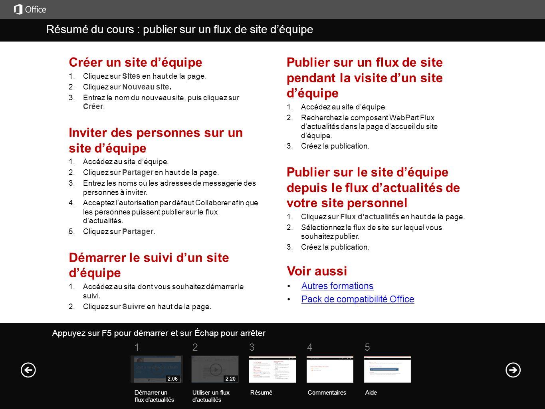 Créer un site déquipe 1. Cliquez sur Sites en haut de la page.