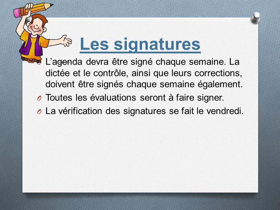 Les signatures O Lagenda devra être signé chaque semaine. La dictée et le contrôle, ainsi que leurs corrections, doivent être signés chaque semaine ég