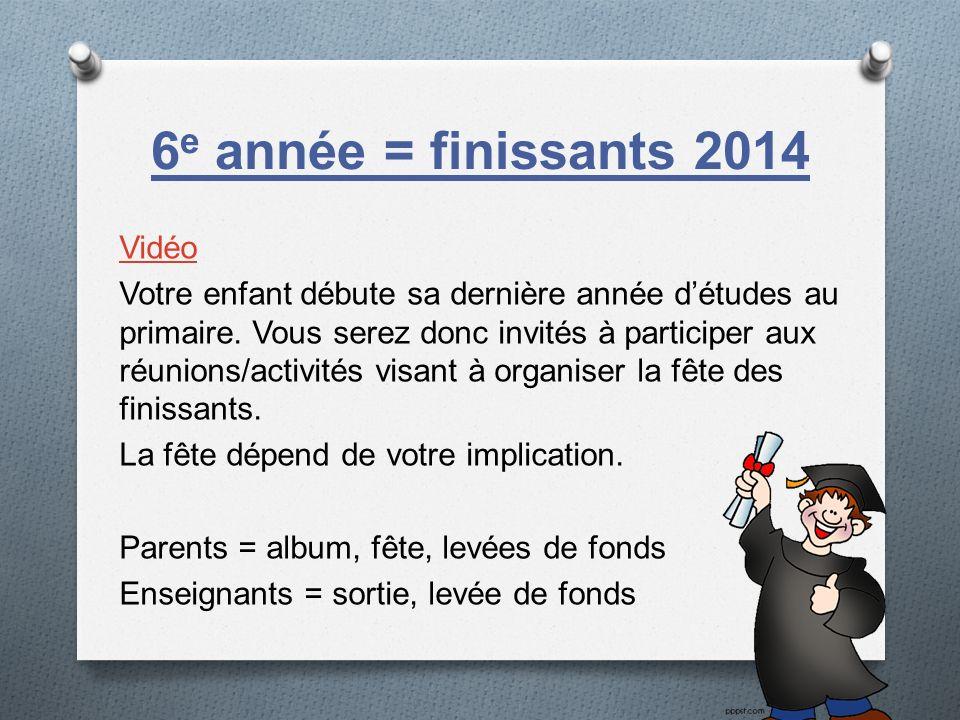 6 e année = finissants 2014 Vidéo Votre enfant débute sa dernière année détudes au primaire. Vous serez donc invités à participer aux réunions/activit