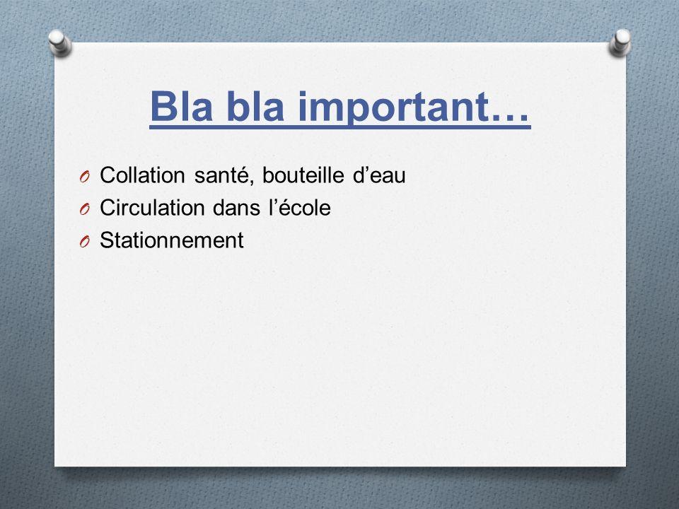 Bla bla important… O Collation santé, bouteille deau O Circulation dans lécole O Stationnement