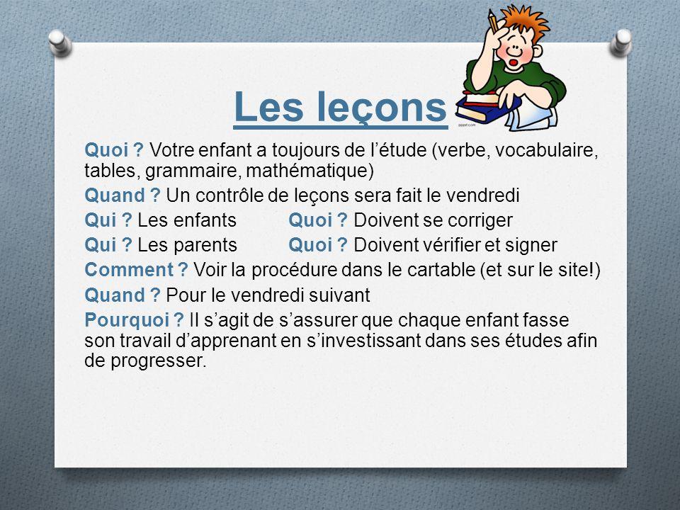 Les leçons Quoi ? Votre enfant a toujours de létude (verbe, vocabulaire, tables, grammaire, mathématique) Quand ? Un contrôle de leçons sera fait le v