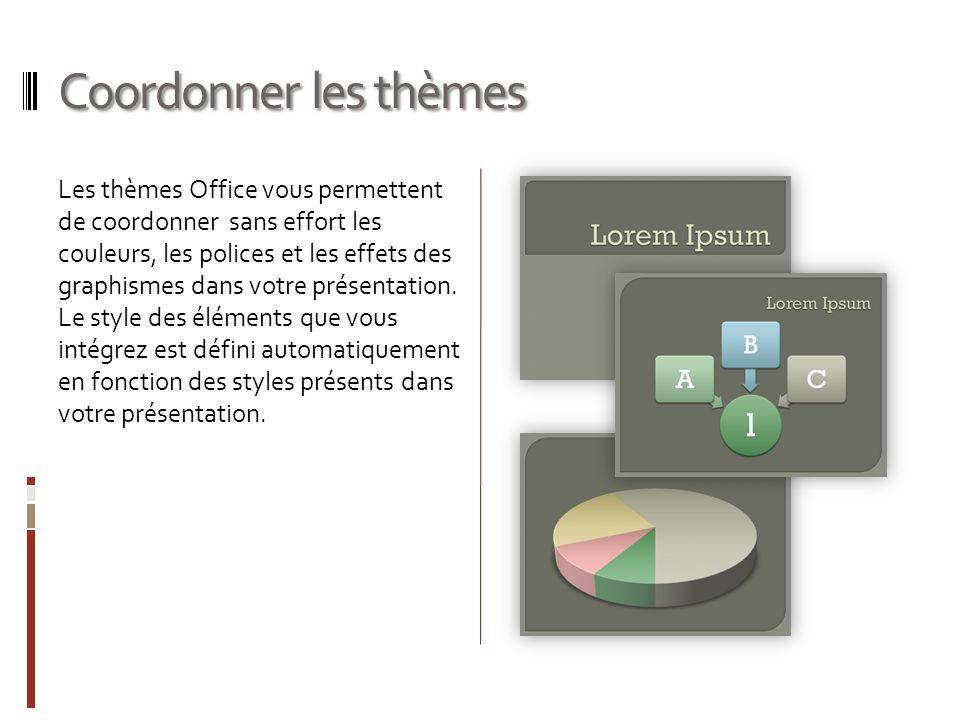 Coordonner les thèmes Les thèmes Office vous permettent de coordonner sans effort les couleurs, les polices et les effets des graphismes dans votre présentation.