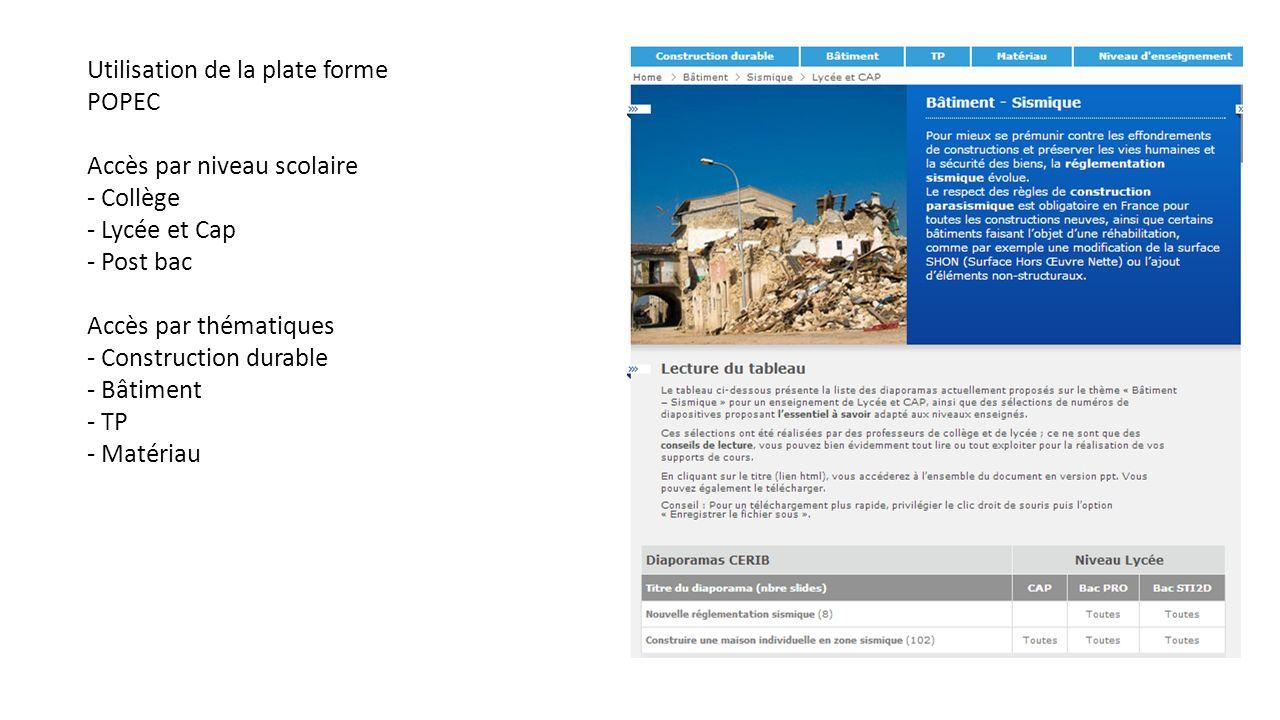 Utilisation de la plate forme POPEC Accès par niveau scolaire - Collège - Lycée et Cap - Post bac Accès par thématiques - Construction durable - Bâtim