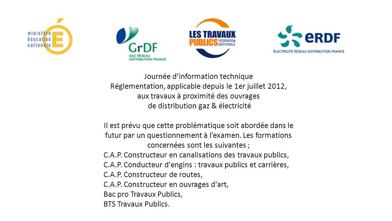 Journée dinformation technique Réglementation, applicable depuis le 1er juillet 2012, aux travaux à proximité des ouvrages de distribution gaz & élect