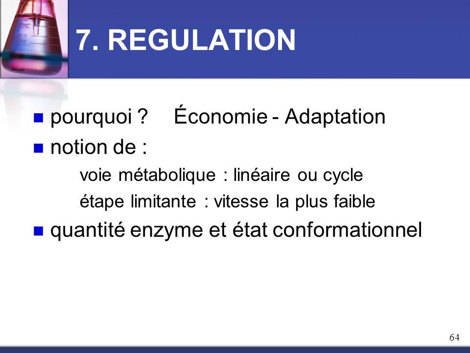 7. REGULATION pourquoi ? Économie - Adaptation notion de : voie métabolique : linéaire ou cycle étape limitante : vitesse la plus faible quantité enzy