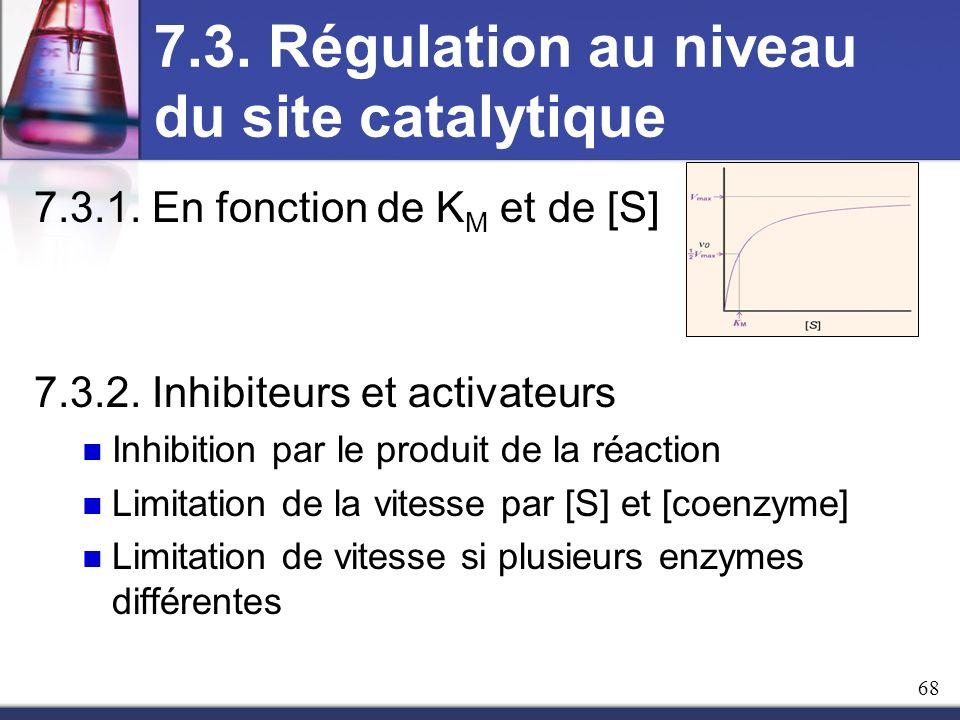 7.3. Régulation au niveau du site catalytique 7.3.1. En fonction de K M et de [S] 7.3.2. Inhibiteurs et activateurs Inhibition par le produit de la ré