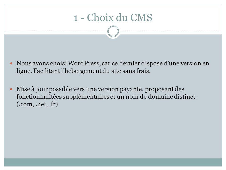 1 - Choix du CMS Nous avons choisi WordPress, car ce dernier dispose dune version en ligne. Facilitant lhébergement du site sans frais. Mise à jour po