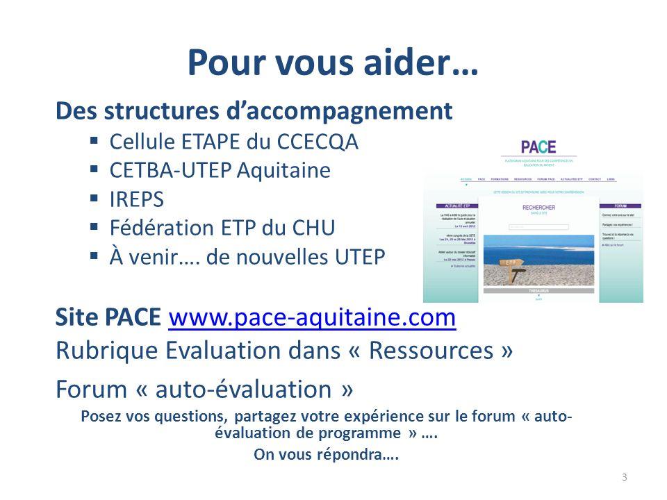 Des structures daccompagnement Cellule ETAPE du CCECQA CETBA-UTEP Aquitaine IREPS Fédération ETP du CHU À venir….