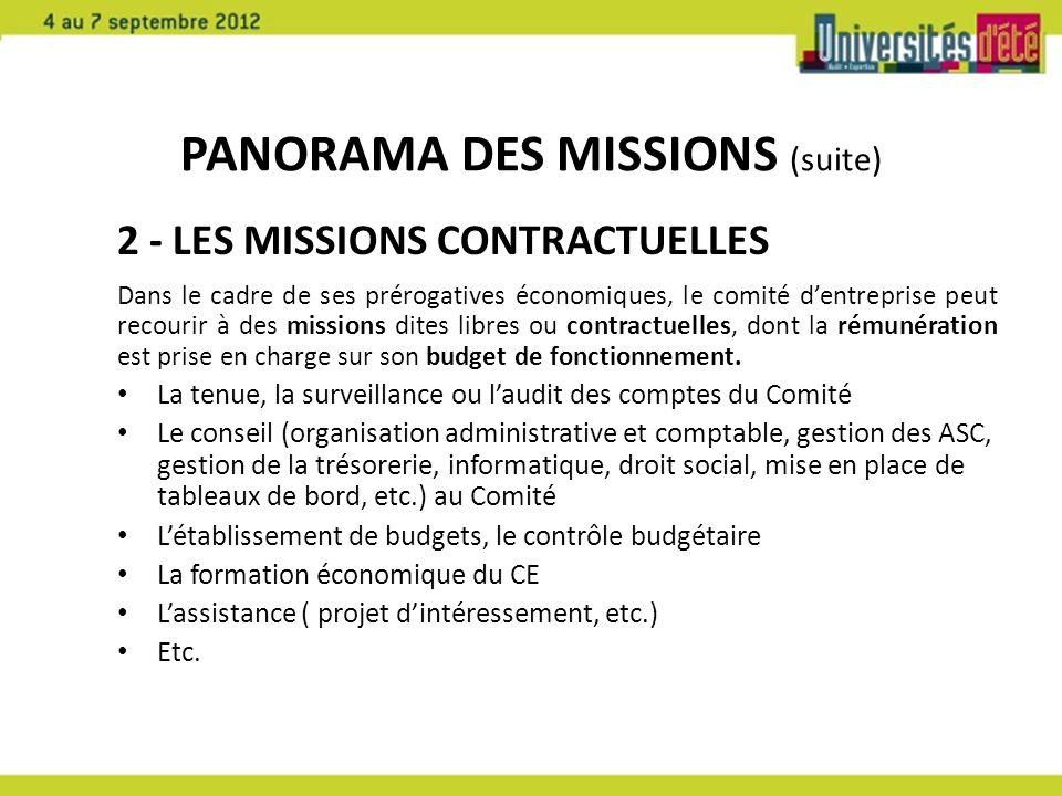 PANORAMA DES MISSIONS (suite) 2 - LES MISSIONS CONTRACTUELLES Dans le cadre de ses prérogatives économiques, le comité dentreprise peut recourir à des
