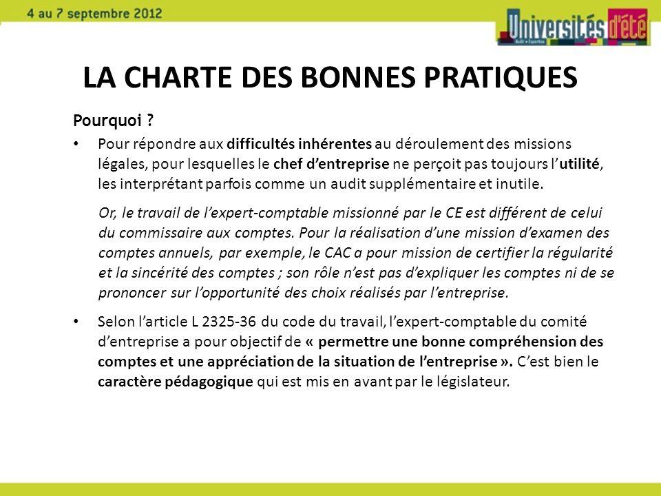 LA CHARTE DES BONNES PRATIQUES Pourquoi .