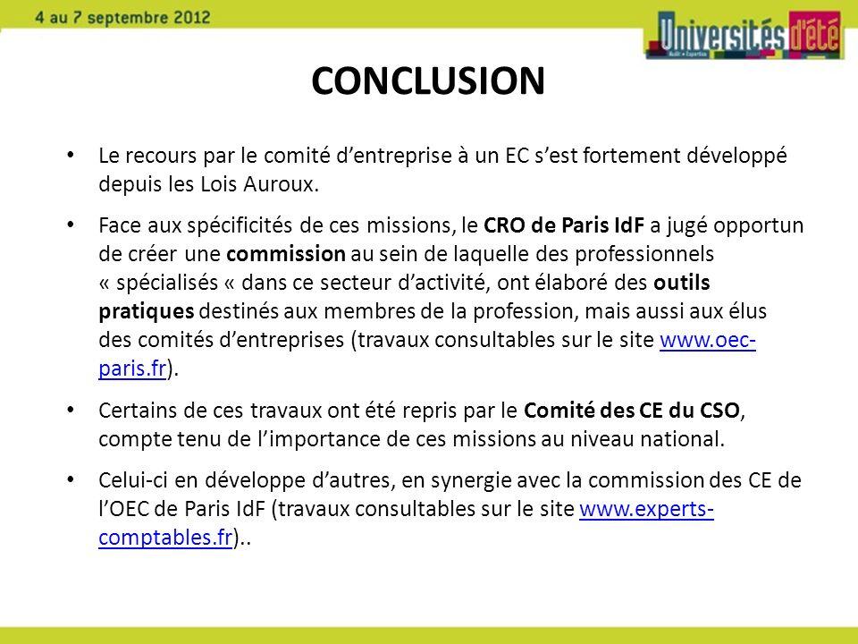 CONCLUSION Le recours par le comité dentreprise à un EC sest fortement développé depuis les Lois Auroux. Face aux spécificités de ces missions, le CRO