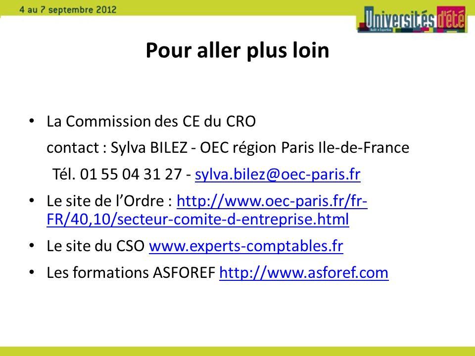 Pour aller plus loin La Commission des CE du CRO contact : Sylva BILEZ - OEC région Paris Ile-de-France Tél. 01 55 04 31 27 - sylva.bilez@oec-paris.fr