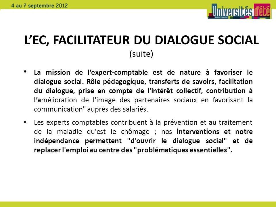 LEC, FACILITATEUR DU DIALOGUE SOCIAL (suite) La mission de lexpert-comptable est de nature à favoriser le dialogue social. Rôle pédagogique, transfert