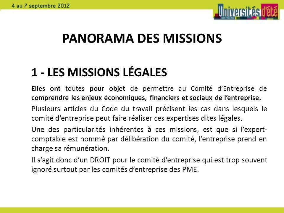 PANORAMA DES MISSIONS 1 - LES MISSIONS LÉGALES Elles ont toutes pour objet de permettre au Comité dEntreprise de comprendre les enjeux économiques, financiers et sociaux de lentreprise.