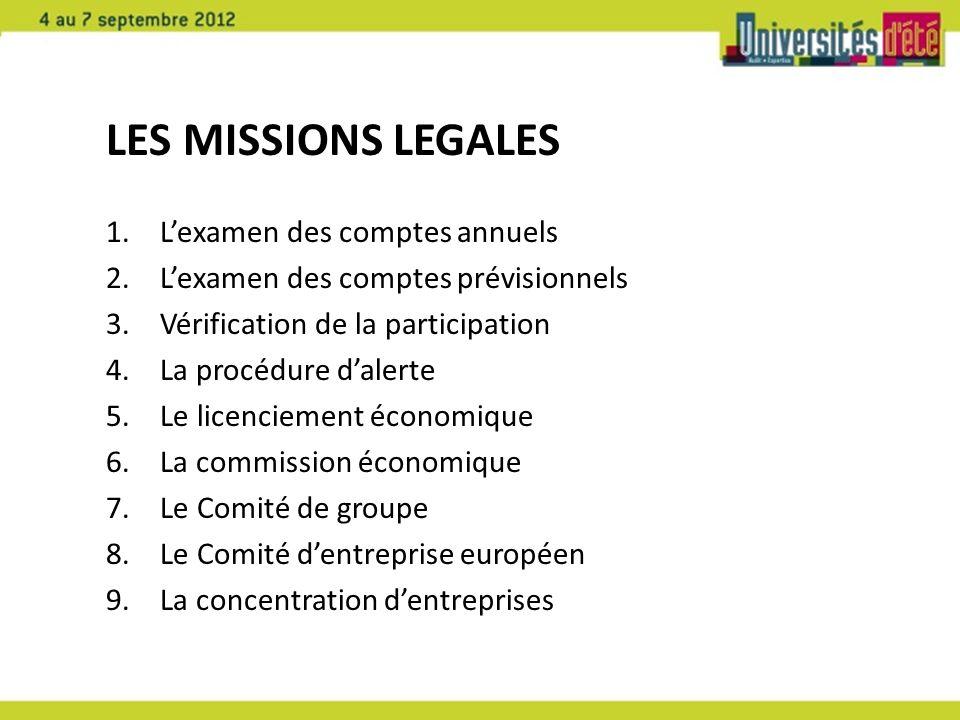 LES MISSIONS LEGALES 1.Lexamen des comptes annuels 2.Lexamen des comptes prévisionnels 3.Vérification de la participation 4.La procédure dalerte 5.Le