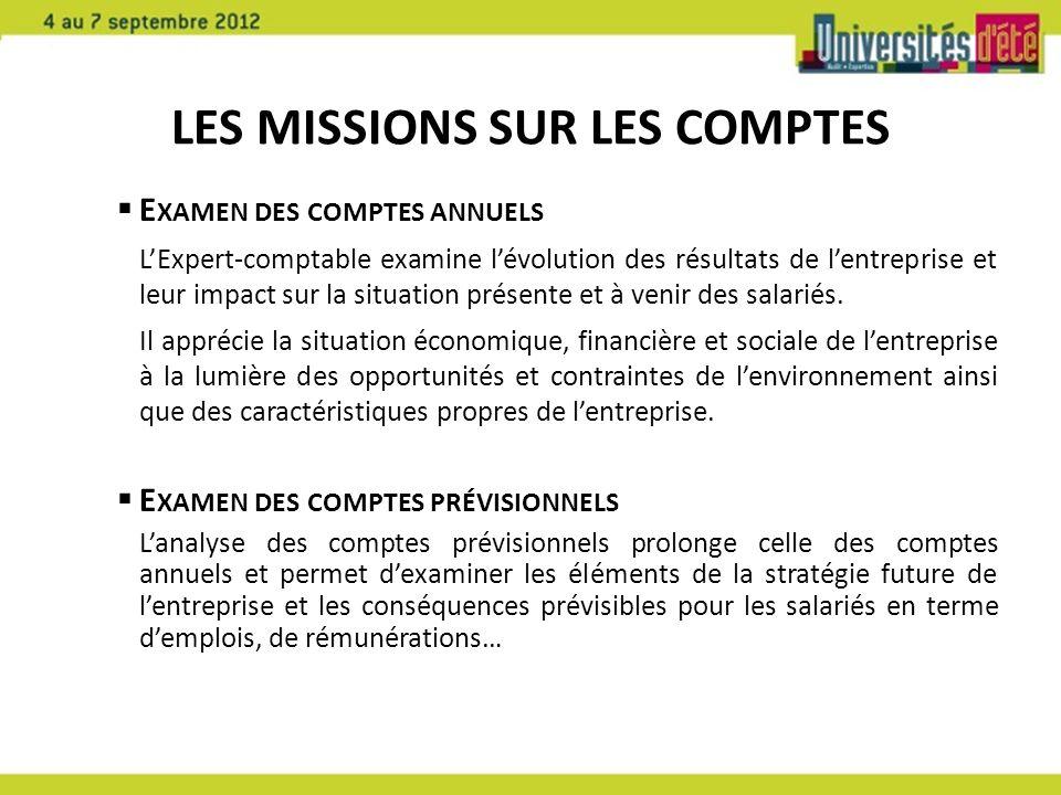 LES MISSIONS SUR LES COMPTES E XAMEN DES COMPTES ANNUELS LExpert-comptable examine lévolution des résultats de lentreprise et leur impact sur la situa